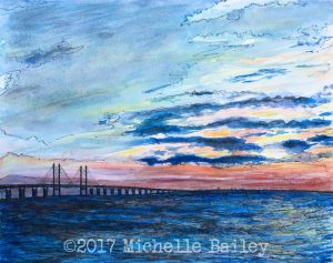 Oresund Bridge watercolor pen and ink by Michelle Bailey NFS