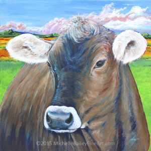 Brown Swiss Cow in a Swedish Pasture by Michelle Bailey