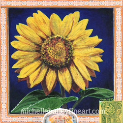 Sunflower Heart Cigar Box Painting