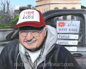 I Love Eggs - Jerry Worrell at the TKPK Farmers Market - Original Painting by Michelle Bailey - Contact me or see exhibit at Roscoe's Pizzeria