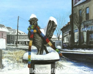 Roscoe and the Polar Vortex of 2014 - Original Painting by Michelle Bailey