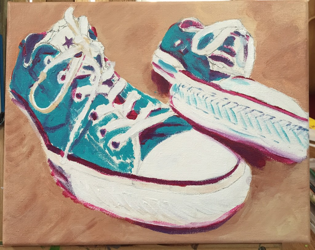 old converse shoes - painting in progress