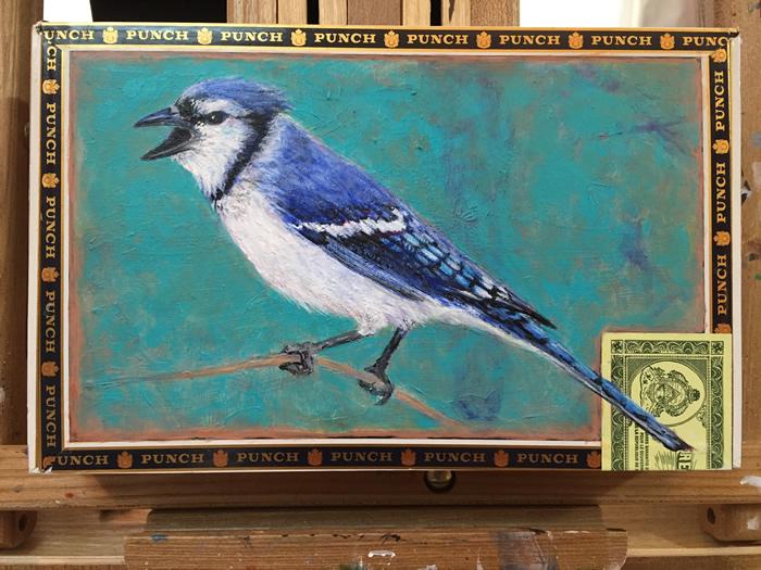 Spring Blue Jay Painting in Progress