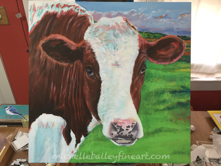 Swedish Cow II in Progress by Michelle Bailey
