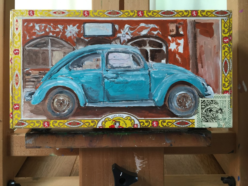 Artists for Soup Cigar Box Painting of a VW in Nicaragua by Michelle Bailey