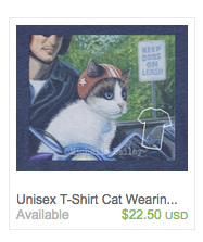 Channeling Motor Cat T-Shirt on Etsy