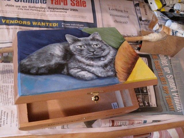 Handsom Kitty Cigar Box Painting in Progress