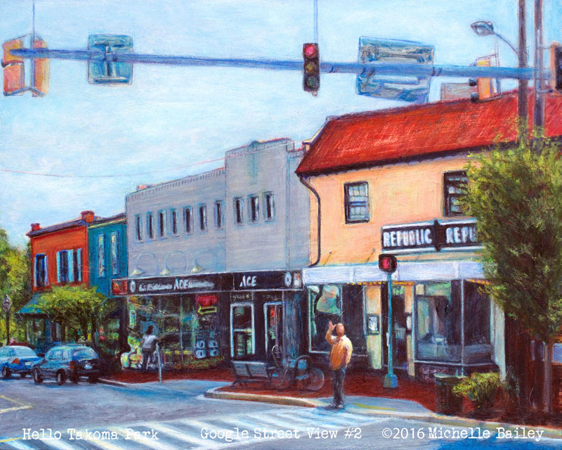 Hello Takoma Park acrylic pen and ink by Michelle Bailey